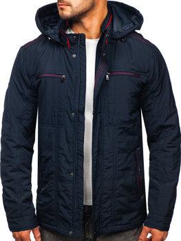 Tmavomodrá pánska prechodná bunda s kapucňou Bolf BK026