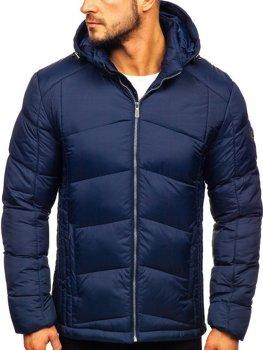 Tmavomodrá pánska prešívaná športová zimná bunda Bolf  AB102