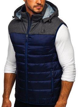 Tmavomodrá pánska prešívaná vesta s kapucňou BOLF AB045