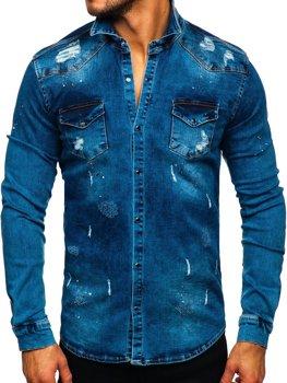 Tmavomodrá pánska riflová košeľa s dlhými rukávmi Bolf R800