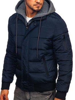Tmavomodrá pánska športová zimná bunda Bolf JK386