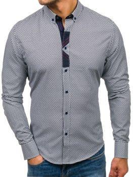Tmavomodrá pánska vzorovaná košeľa s dlhými rukávmi BOLF 8810