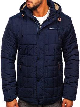 Tmavomodrá pánska zimná bunda BOLF 1672 b4a8d9b8571