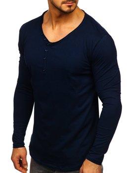 Tmavomodré pánska tričko s dlhými rukávmi bez potlače Bolf 5059