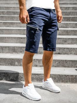 Tmavomodré pánske kapsáčové šortky s opaskom Bolf R88204