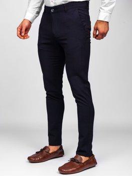 Tmavomodré pánske látkové chinos nohavice Bolf 0015