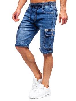 Tmavomodré pánske riflové kapsáčové šortky Bolf K15006