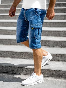 Tmavomodré pánske riflové kapsáčové šortky Bolf KR1202P-1