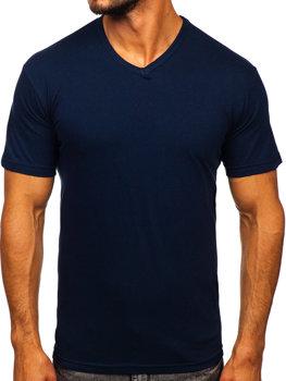 Tmavomodré pánske tričko bez potlače s výstrihom do V Bolf  192131