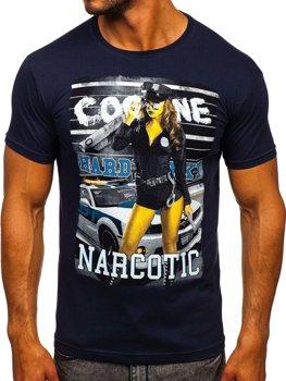 Tmavomodré pánske tričko s potlačou BOLF 004