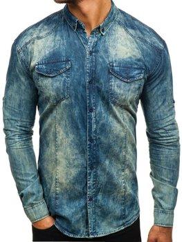Tmavomodro-šedá pánska riflová košeľa s dlhými rukávmi BOLF 0895