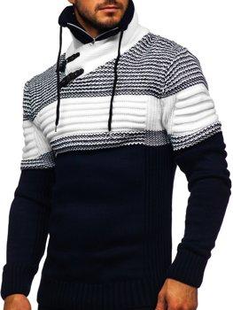 Tmavomodrý hrubý pánsky sveter zo stojačikom Bolf 2002
