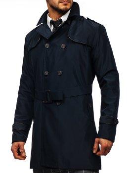 Tmavomodrý pánsky dvojradový kabát typu trenčkot s vysokým golierom a opaskom Bolf 0001