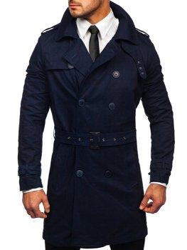 Tmavomodrý pánsky dvojradový trenčkot kabát s vysokým golierom a opaskom Bolf 5569
