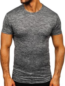 Tmavošedé pánske tréningové tričko bez potlače BolfS01
