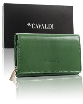 Tmavozelená dámska kožená peňaženka 9534