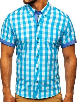 Tyrkysová pánska károvaná košeľa s krátkymi rukávmi BOLF 6522