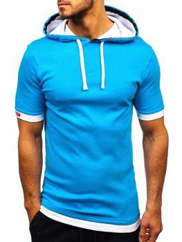 Tyrkysové pánske tričko s kapucňou BOLF 08-1