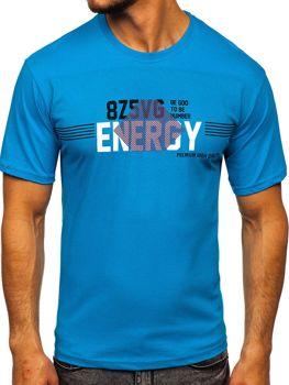 Tyrkysové pánske tričko s potlačou Bolf 14333