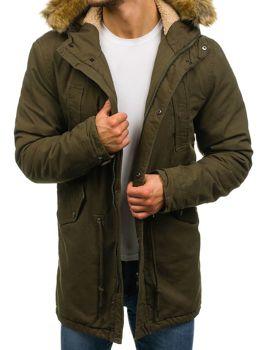 Zelená pánska zimná bunda parka BOLF YL001