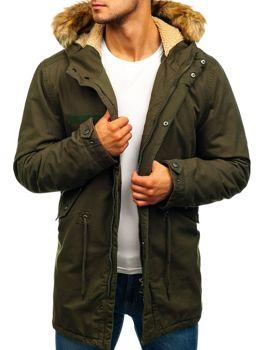 Zelená pánska zimná bunda parka BOLF YL002