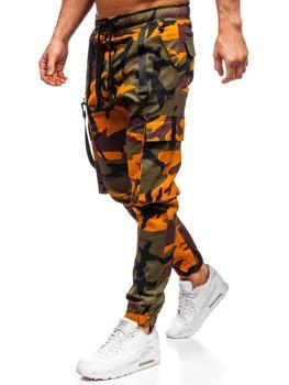Zeleno-oranžové pánske kapsáčové joggery Bolf 11105
