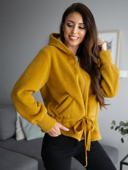 Žltá dámska mikina s kapucňou Bolf 9320