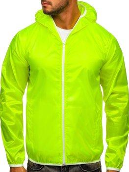 Žltá neónová pánska prechodná bunda s kapucňou BOLF 5060