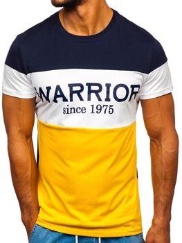 Žlté pánske tričko s potlačou Bolf 100693
