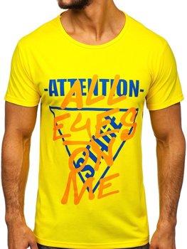 Žlté pánske tričko s potlačou Bolf KS1995