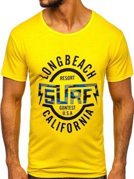 Žlté pánske tričko s potlačou Bolf KS2031