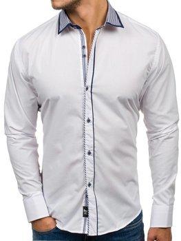 Biela pánska elegantná košeľa s dlhými rukávmi BOLF 6940