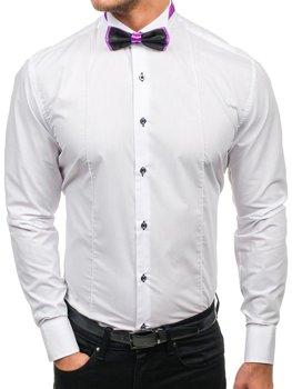Biela pánska elegantná košeľa s dlhými rukávmi s motýlkem BOLF 5786