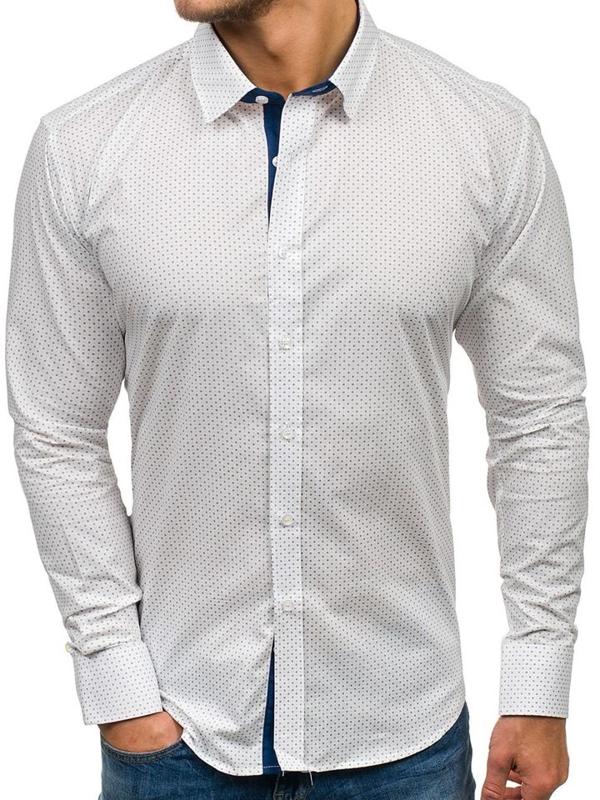 Biela pánska vzorovaná košeľa s dlhými rukávmi BOLF GET1011
