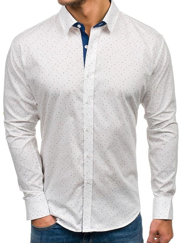Biela pánska vzorovaná košeľa s dlhými rukávmi BOLF GET1013