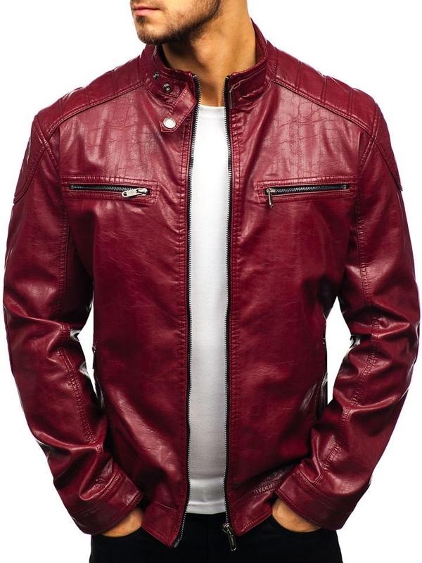 Bordová pánska bunda z eko-kože BOLF ex379