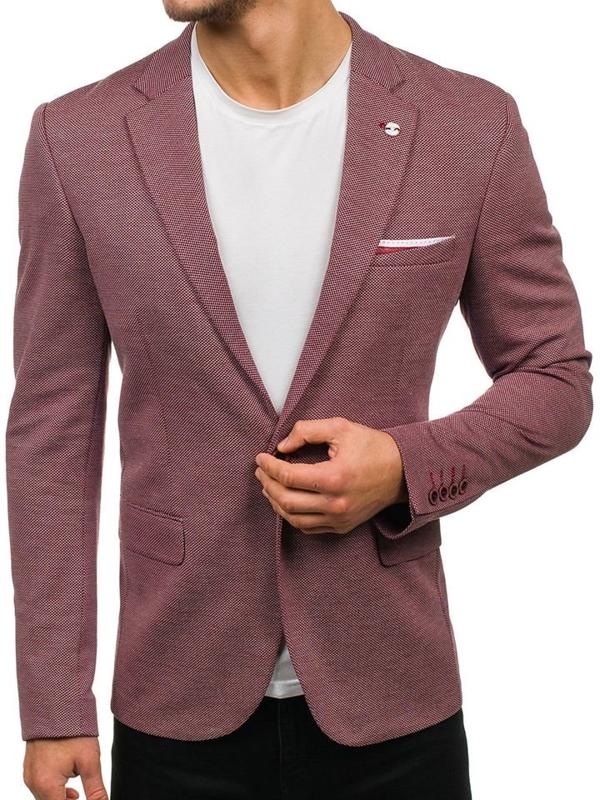Bordové pánske elegantné sako BOLF M008