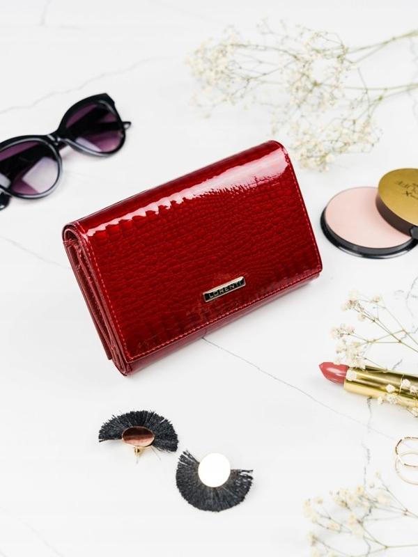 Červená dámska kožená peňaženka 2091