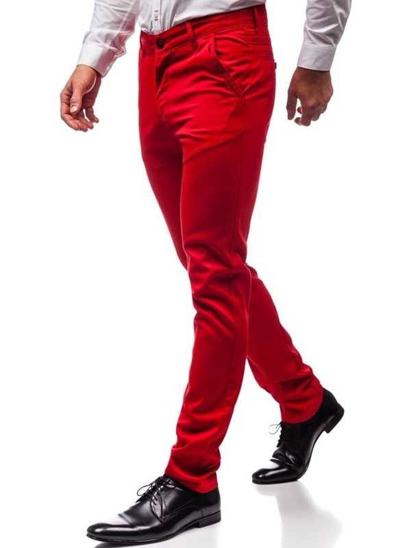 Červené pánske spoločenské nohavice BOLF 3166
