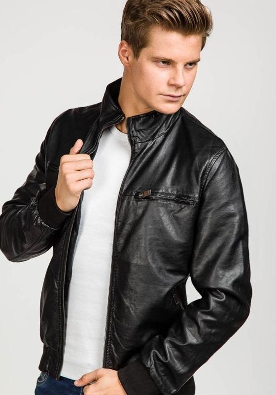 Čierna pánska bunda z ekokože BOLF 8005