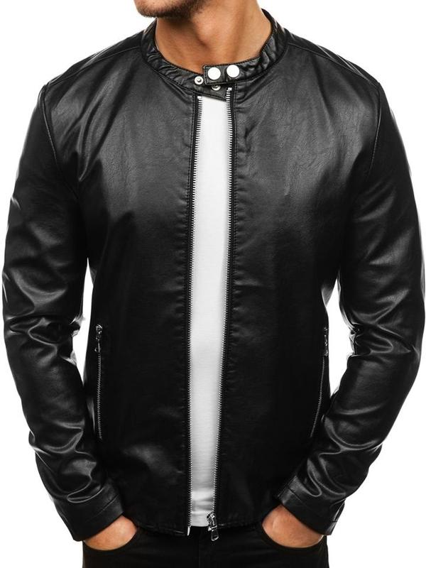Čierna pánska bunda z ekokože BOLF 8977