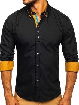 Čierna pánska elegantná košeľa s dlhými rukávmi BOLF 3708