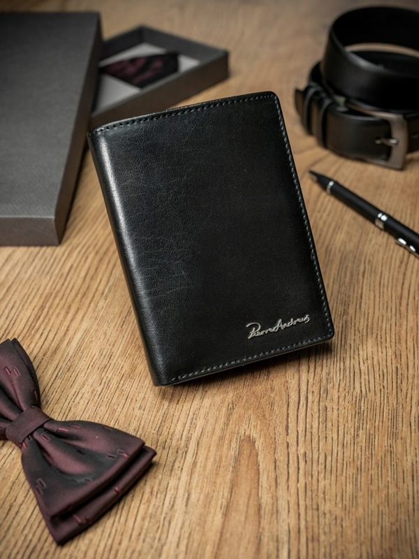 Čierna pánska kožená peňaženka 1667