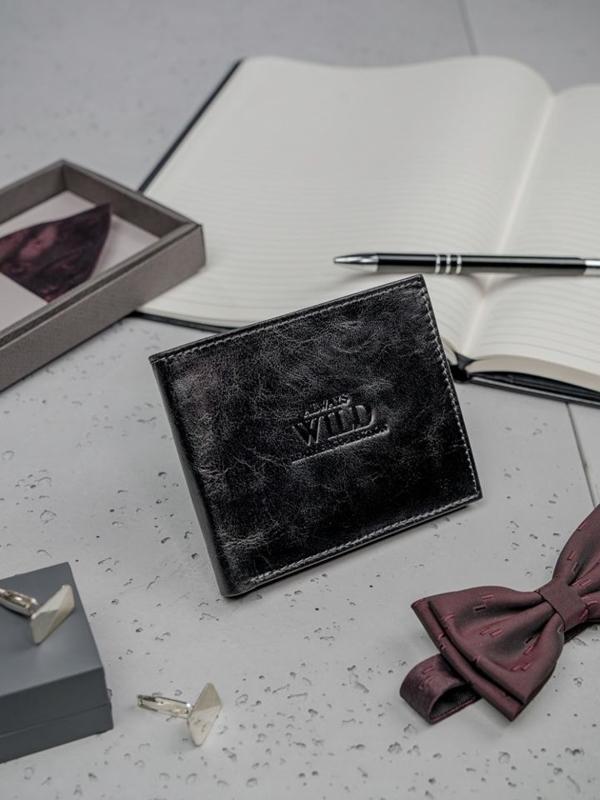 Čierna pánska kožená peňaženka 3135