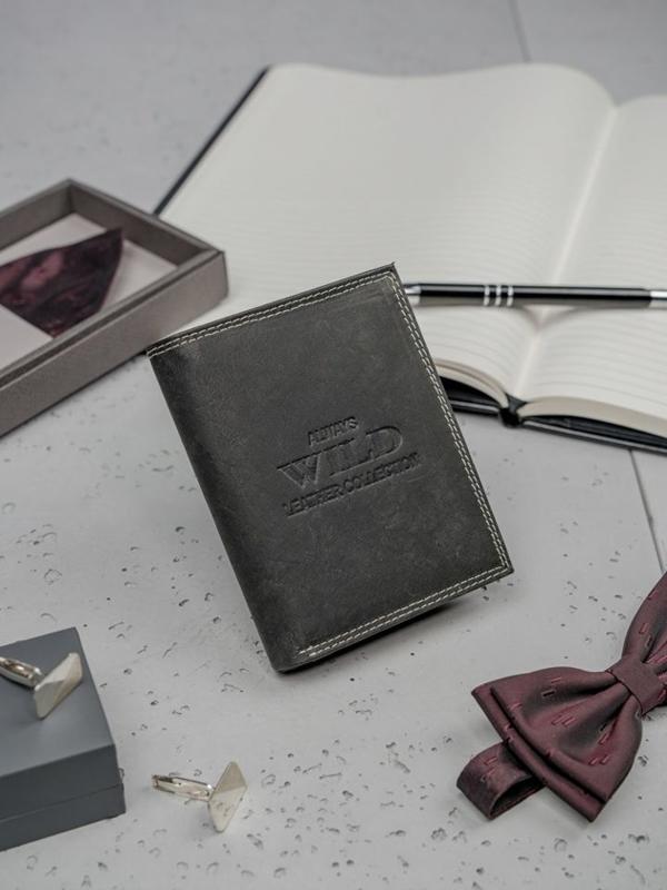 Čierna pánska kožená peňaženka 3203