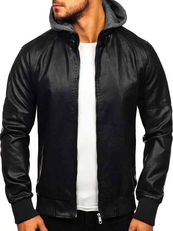 Čierna pánska koženková bunda Bolf 92524