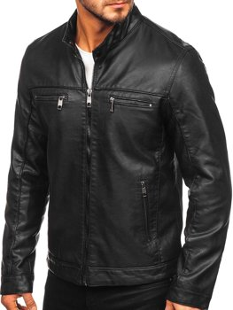 Čierna pánska koženková motorkárska bunda Bolf 88906