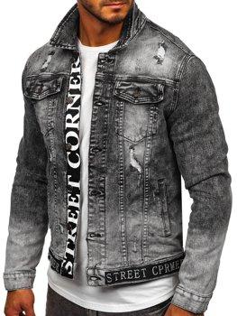 Čierna pánska rifľová bunda Bolf 6691G