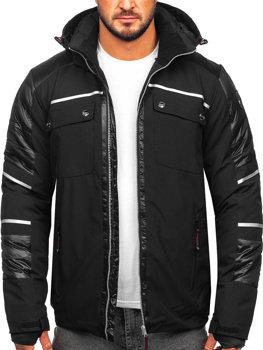 Čierna pánska softshellová zimná bunda BOLF K33