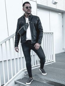 Čierna pánska zateplená motorkárska koženková bunda Bolf 92530